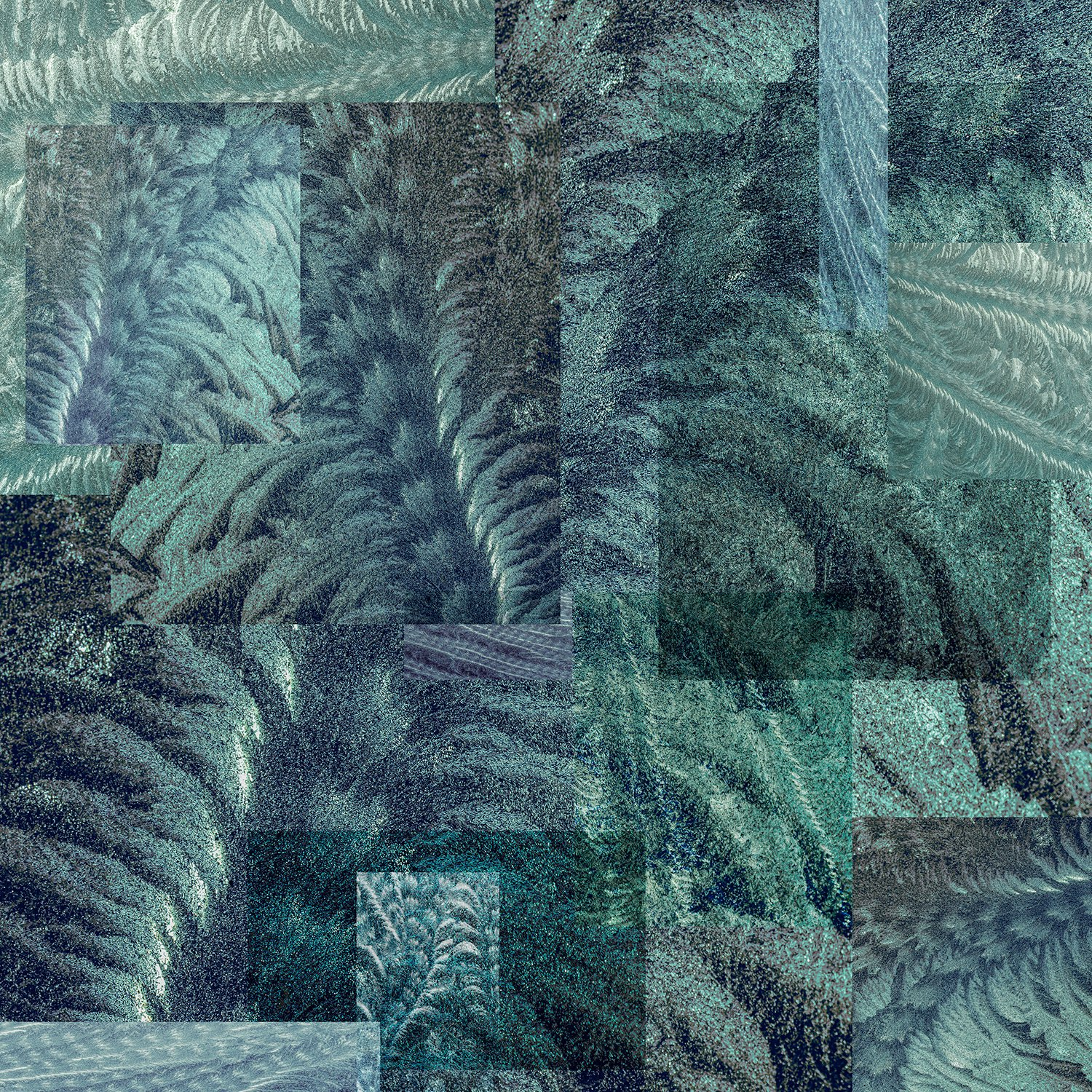 collage-shapes-textures-frost-patterns-blue-dark-green-pressed-glass-fern-scroll