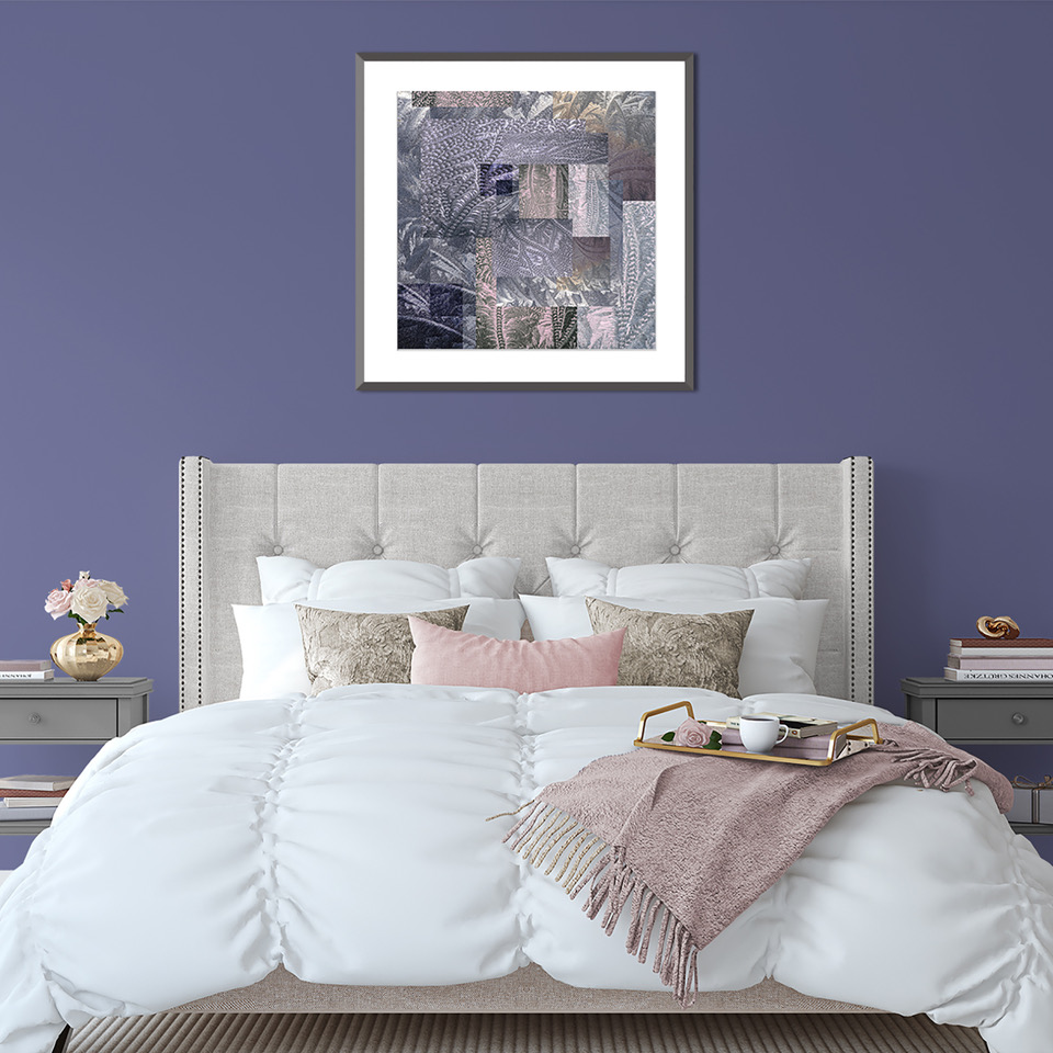 print-on-purple-wall-above-bed-glass-on-glass-amethyst-and-rose-quartz