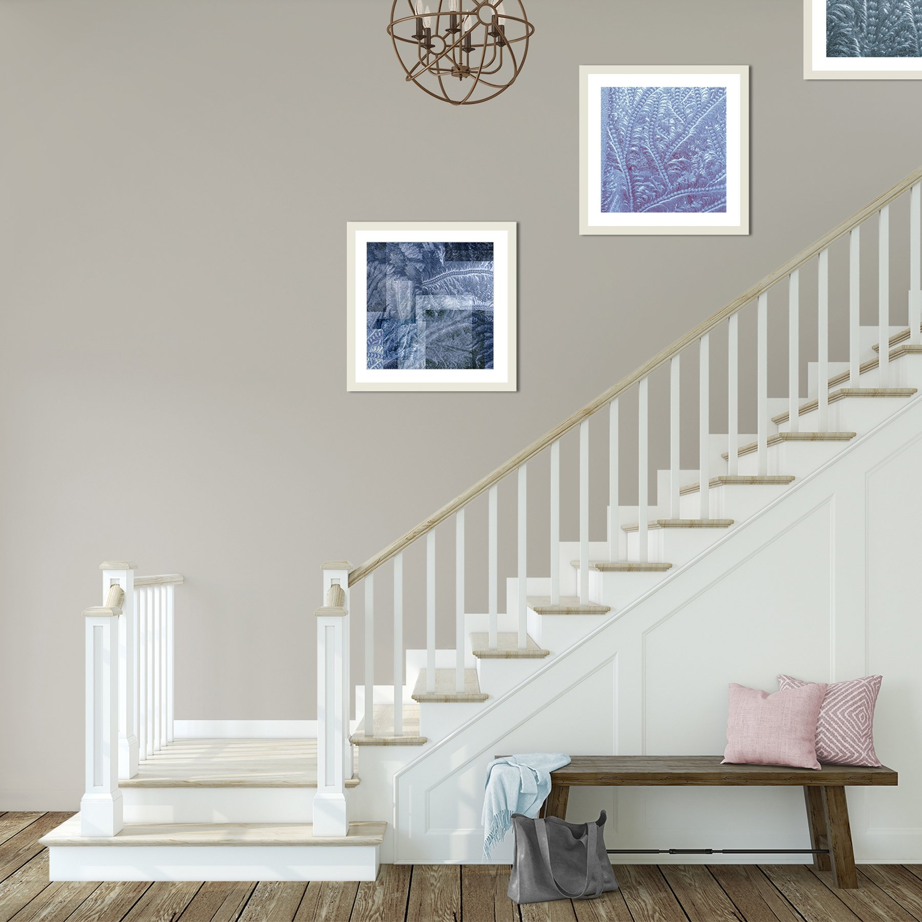 framed-prints-hanging-up-stairs-glass-on-glass